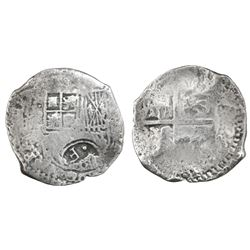 Potosi, Bolivia, cob 8 reales, (1649-52)(O or E), with crowned-dot-F-dot countermark on shield.