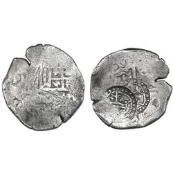 Potosi, Bolivia, cob 4 reales, Philip IV, assayer not visible (ca. 1649), with two crowned-a counter