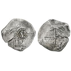 Potosi, Bolivia, cob 4 reales, Philip IV, assayer not visible (ca. 1649), with crown-alone counterma