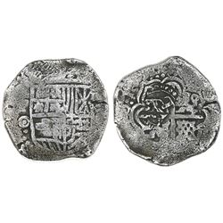 Potosi, Bolivia, cob 4 reales, 1650O, with crowned-L countermark on cross.