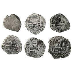 Lot of six Potosi, Bolivia, cob 2 reales, Philip III and IV, various assayers (where visible).