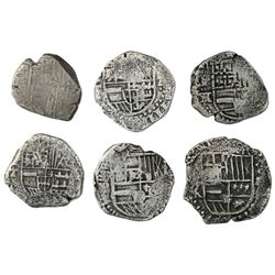 Lot of six Potosi, Bolivia, cob 2 reales, Philip III and IV, various assayers (where visible).