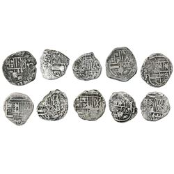Lot of ten Potosi, Bolivia, cob 1R, Philip III and IV, various assayers (where visible).