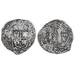 Potosi, Bolivia, cob 8 reales, 1(652)E transitional Type IV/A.