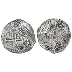 Potosi, Bolivia, cob 8 reales, 1652E, Transitional Type V/B mule, rare.