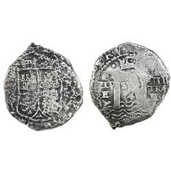 Potosi, Bolivia, cob 4 reales, 1652E Transitional, McLean Type I, rare.