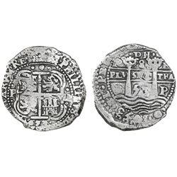 "Potosi, Bolivia, cob 8 reales, 1653E, dot-PH-dot at top, ex-Ponterio ""La Capitana"" sale."