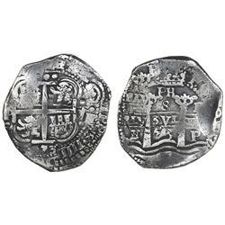 Potosi, Bolivia, cob 8 reales, 1653E, with PH at top.