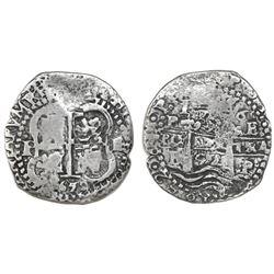 Potosi, Bolivia, cob 4 reales, 1652E post-transitional (Transitional Type VIII/B), 1-PH-6 at top.