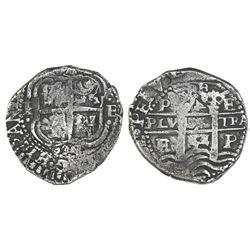 Potosi, Bolivia, cob 4 reales, 1654E, rotated-4 denomination (very rare), PH at top.