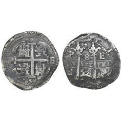 Potosi, Bolivia, cob 8 reales, 1658E, pomegranate at top on both sides.