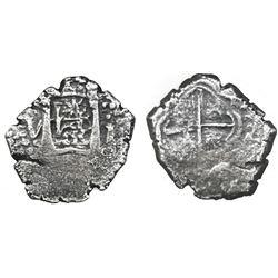 """Lima, Peru, cob 1 real, 1659V, """"Star of Lima"""" type."""