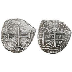 Potosi, Bolivia, cob 2 reales, 1652E Transitional, McLean Type IV, rare.