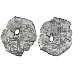 Potosi, Bolivia, cob 8 reales, Philip IV, assayer E (1660s).