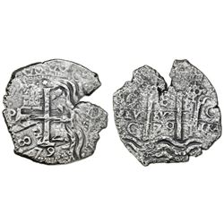 Potosi, Bolivia, cob 8 reales, 1679C, flipover double-strike, Seliger Plate Coin.