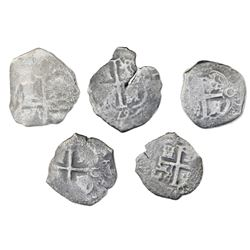 Lot of five Potosi, Bolivia, cob 4 reales, Charles II, assayers C and V, various dates (where visibl