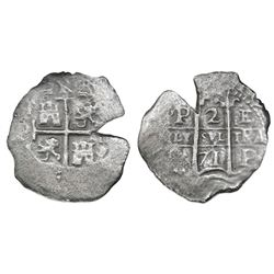 Potosi, Bolivia, cob 2 reales, 1671E.
