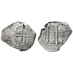 Potosi, Bolivia, cob 2 reales, 1672E.