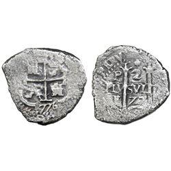 Potosi, Bolivia, cob 2 reales, 1677+76E, rare.