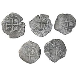 Lot of five Potosi, Bolivia, cob 2 reales, Philip IV and Charles II, various dates and assayers.