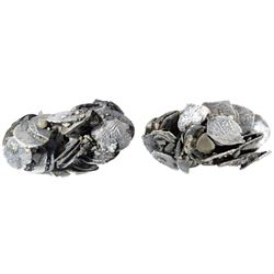 Clump of 30 small silver cobs of Potosi, Bolivia, mostly 1R, Philip IV and Charles II, many dated.