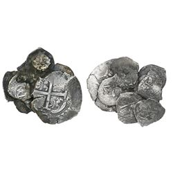 Clump of nine Potosi, Bolivia, silver cobs (one 8R and eight 1R), several dated.