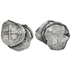 Clump of three Potosi, Bolivia, cob 8 reales, dated 1663E, 1677E and 1679 (assayer not visible), ex-