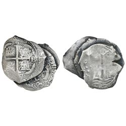 Clump of three Potosi, Bolivia, cob 8 reales, dated 1663E, 1677E and 1679 (assayer not visible), ex-