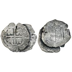 Clump of two Potosi, Bolivia, cob 8 reales, one 1679C and the other with date and assayer not visibl
