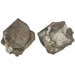 Encrusted clump of three Potosi, Bolivia, cob 1R, Philip IV and/or Charles II.
