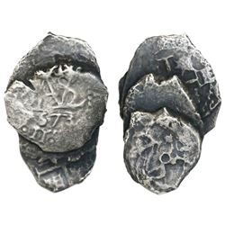 Clump of four Potosi, Bolivia, cob 1/2R (rare denomination), Philip IV and/or Charles II, one dated