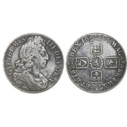 London, England, crown, William III, 1696, third bust, OCTAVO on edge.