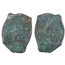 """Mexico City, Mexico, cob 8 reales """"greenie"""" (encrusted as found), Philip V, assayer not visible, ex-"""