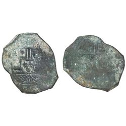 Mexico City, Mexico, cob 8 reales, Philip V, assayer not visible, uncleaned as found.