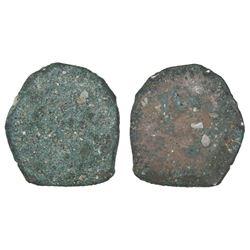 "Mexico City, Mexico, cob 4 reales ""greenie"" (encrusted as found)."