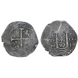 Lima, Peru, cob 8 reales, 1697H.