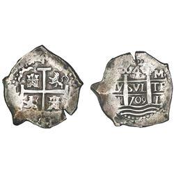 Lima, Peru, cob 4 reales, 1709M, rare.