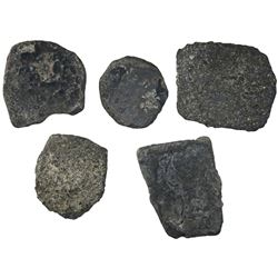 """Lot of five uncleaned cob """"biscuits"""" (cocooned in oxidized encrustation), various denominations."""