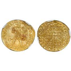 Utrecht, United Netherlands, gold ducat, 1724, NGC MS 64 / Akerendam.