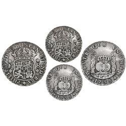 Mexico City, Mexico, pillar 8 reales, Philip V, 1733F, ex-Coffins Patch.