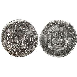 Mexico City, Mexico, pillar 8 reales, Philip V, 1733F.