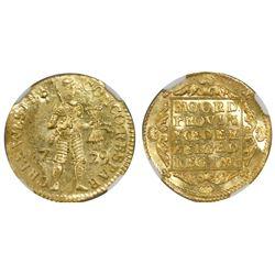 Westfriesland, United Netherlands, gold ducat, 1729, NGC MS 64 / Vliegenthart.