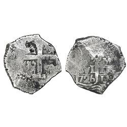 Lima, Peru, cob 8 reales, 1726M, rare.