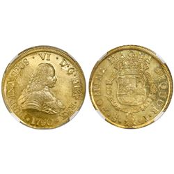Santiago, Chile, gold bust 8 escudos, Ferdinand VI, 1750J, NGC MS 62, ex-Luz (designated on label).