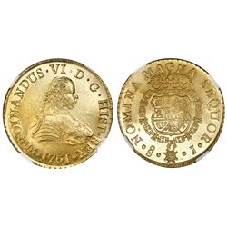Santiago, Chile, gold bust 8 escudos, Ferdinand VI, 1751J, NGC MS 63, ex-Luz (designated on label).