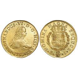 Santiago, Chile, gold bust 8 escudos, Ferdinand VI, 1751J, PCGS MS62 / La Luz 1752.