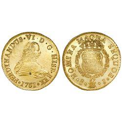 Santiago, Chile, gold bust 8 escudos, Ferdinand VI, 1751J, in promotional box with replica ingot.