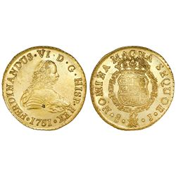 Santiago, Chile, gold bust 8 escudos, Ferdinand VI, 1751J, in promotional box with replica ingot.