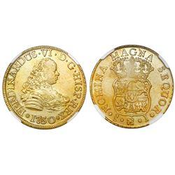 Santiago, Chile, bust 4 escudos, Ferdinand VI, 1750/5J, NGC UNC details / saltwater damage / La Luz.