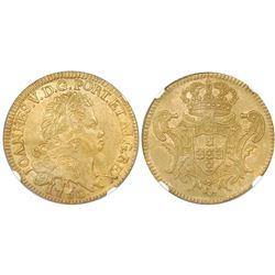 Brazil (Rio mint), gold 6400 reis, Joao V, 1750-R, NGC UNC details / saltwater damage.